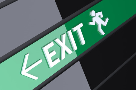 exit emergency sign: 3D Sign above an emergency exit
