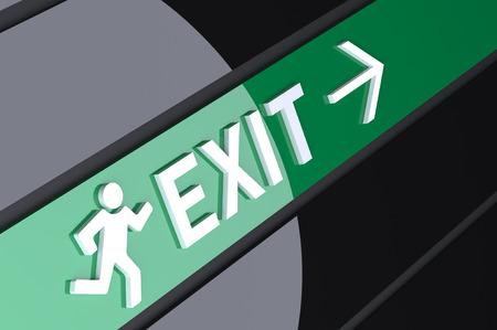 salida de emergencia: Muestra 3d por encima de una salida de emergencia