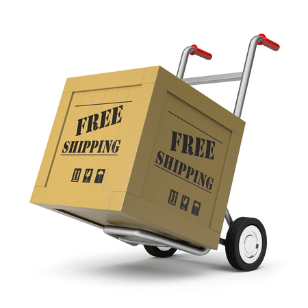 moving crate: 3D rendering of a hand truck and free shipping cargo
