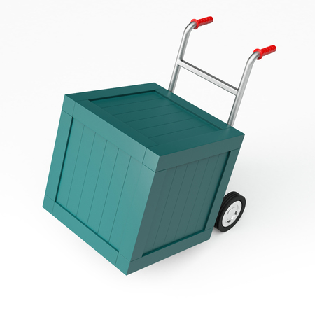 sacktruck: 3D rendering of a hand truck with crates Stock Photo