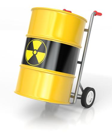 uranium: 3D rendering of a hand truck with Radioactive Barrels