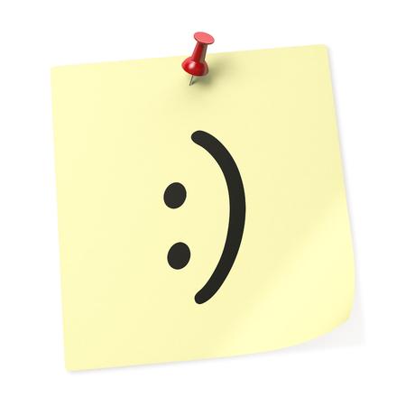 """cara sonriente: """"Cara sonriente"""" nota de color amarillo con rojo del empuje. representaci�n 3D. Foto de archivo"""