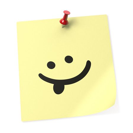 """lengua afuera: """"La lengua hacia fuera"""" nota adhesiva amarilla con el Pin rojo del empuje. Representaci�n 3D Foto de archivo"""