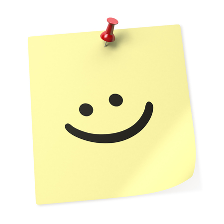 Smiley Face yellow sticky note with red push pin. 3D rendering.