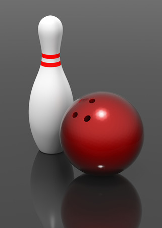 quille de bowling: A 3D bowling pin and red bowling ball.