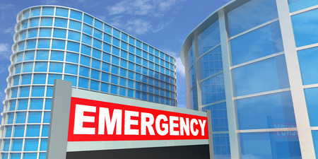 Emergency sign depicting the entrance to a hospital.