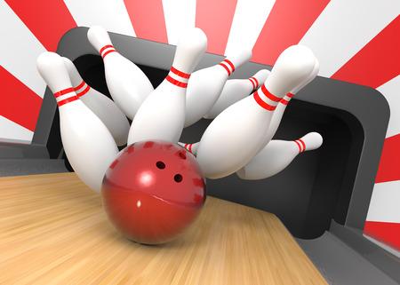 smashing: 3D render of a bowling ball smashing the nine pins for a strike!