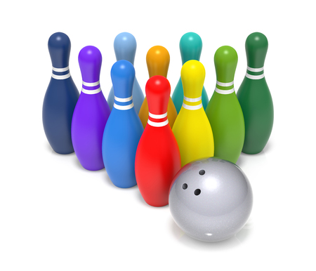 quille de bowling: Rainbow Color Bowling Pin. 3D Rendering