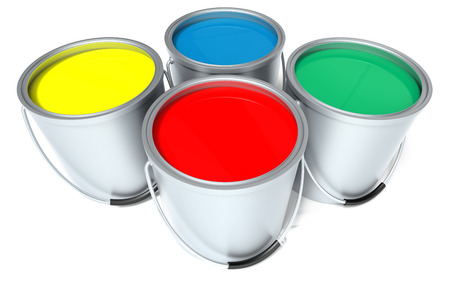 primary colours: Primary coloured paint cans isolated on a white background. 3D rendering Stock Photo