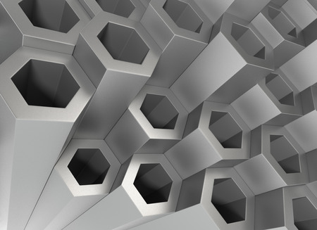 wide angle: Stack of Hexagon Metal Tubing. 3D Rendering...