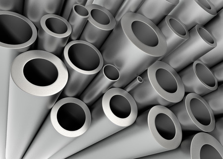 shiny metal background: Stack of Metal Tubing. 3D Rendering...