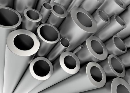 nickel: Stack of Metal Tubing. 3D Rendering...