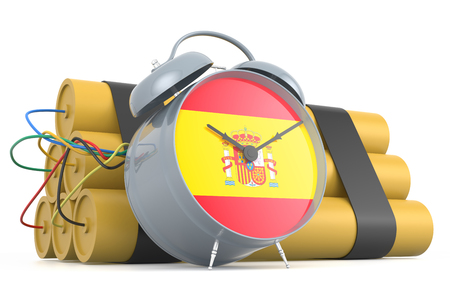 time bomb: Time Bomb with Spanish Flag. 3D Rendering