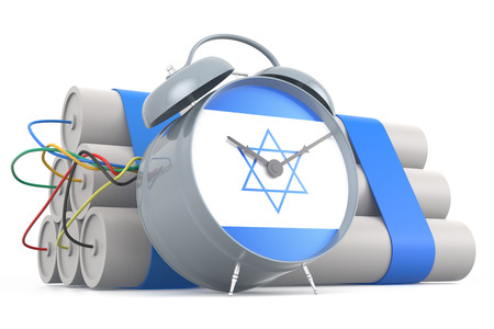 israeli: Time Bomb with Israeli Flag. 3D Rendering Stock Photo