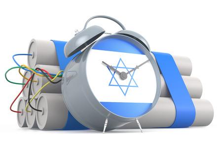 israeli flag: Time Bomb with Israeli Flag. 3D Rendering Stock Photo
