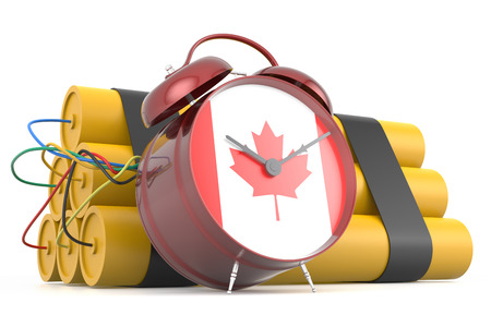 time bomb: Time Bomb with Canadian Flag. 3D Rendering Stock Photo