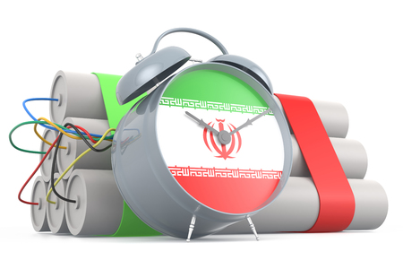 time bomb: Time Bomb with Iranian Flag. 3D Rendering