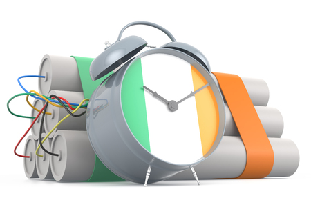 time bomb: Time Bomb with Irish Flag. 3D Rendering