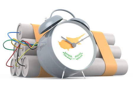 kypros: Time Bomb with Cypriot Flag. 3D Rendering