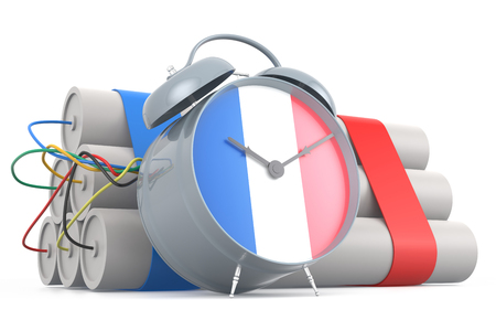time bomb: Time Bomb with French Flag. 3D Rendering