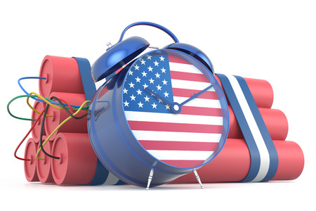 time bomb: Time Bomb with USA Flag. 3D Rendering Stock Photo