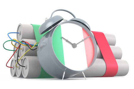 time bomb: Time Bomb with Italian Flag. 3D Rendering