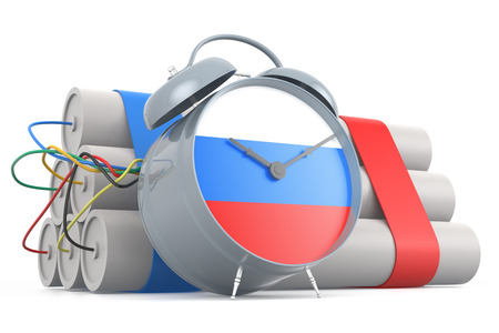 time bomb: Time Bomb with Russian Flag. 3D Rendering