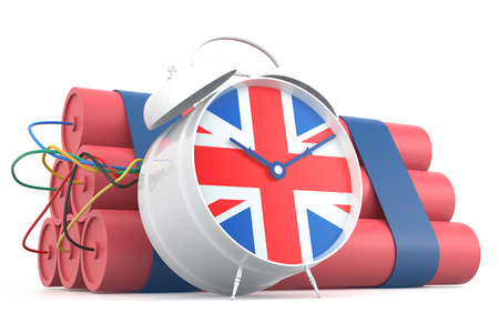 time bomb: Time Bomb with British Flag. 3D Rendering Stock Photo