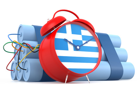 human time bomb: Time Bomb with Greek Flag. 3D Rendering