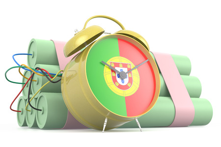 time bomb: Time Bomb with Portuguese Flag. 3D Rendering