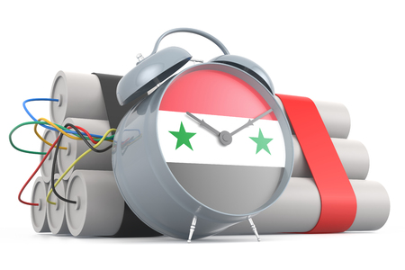 time bomb: Time Bomb with Syrian Flag. 3D Rendering