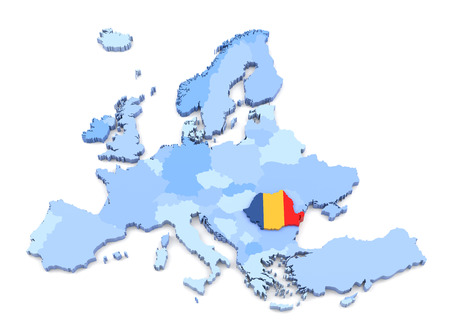 romania: 3D Rendering of Europe Map, Romania with Flag Stock Photo
