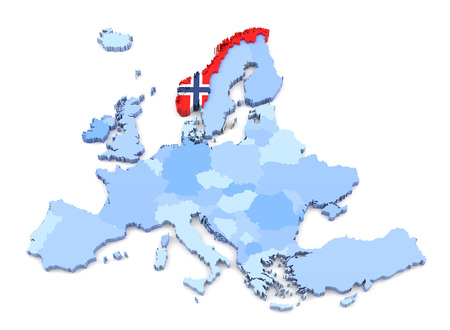 norway flag: 3D Rendering of Europe Map, Norway with Flag