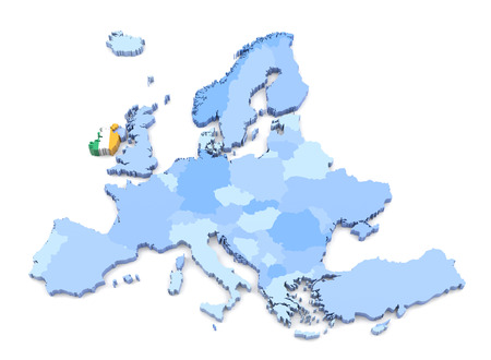 map ireland: 3D Rendering of Europe Map, Ireland with Flag