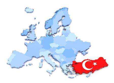 mapa de europa: Representación 3D de Europa Mapa, Turquía con la bandera Foto de archivo