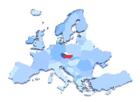 czech: 3D Rendering of Europe Map, Czech Republic with Flag