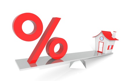 percentage sign: House and percent sign in the balance isolated on white background Stock Photo
