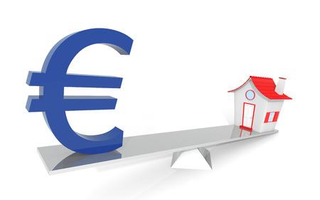foreclosure: Euro Real Estate Balance Illustration Design Over a White Background Stock Photo