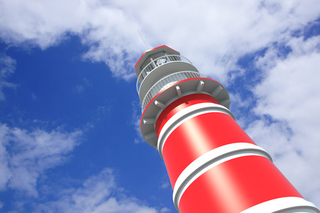 built tower: Lighthouse a sunny day with blue sky and white clouds. 3D Rendering
