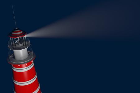 夜に照らされた強力な灯台。3 D レンダリング