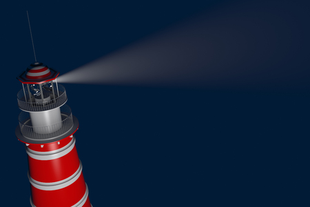 power projection: Powerful lighthouse illuminated at night. 3D Rendering Stock Photo