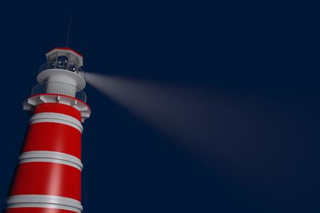 lighthouse at night: Powerful lighthouse illuminated at night. 3D Rendering Stock Photo