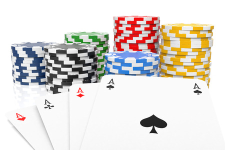 four of a kind: Four of a Kind and Gambling Chips. Isolated On White. 3D rendering