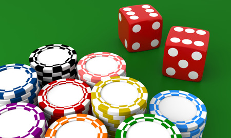 las vegas metropolitan area: Gambling casino. Dice and chips on green isolated background.