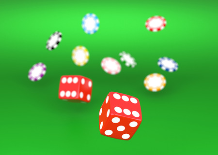 rolling dice: Rolling red dice on a casino table with chips Stock Photo