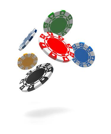 fichas casino: Volar fichas de juego. Fondo blanco aislado. Representación 3D Foto de archivo