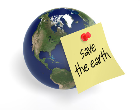 yellow earth: Yellow sticky note and 3d illustration of planet earth on isolated white background as concept