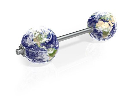 instead: One Dumbbell with Earth Globes Instead of Plates. 3d Rendering