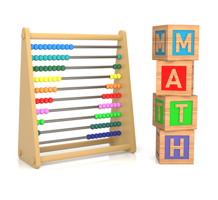 sums: A childs abacus and alphabet blocks to represent the subject of learning math.