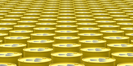 nuke plant: Barrels Contain Radioactive Waste Background. 3d Rendering
